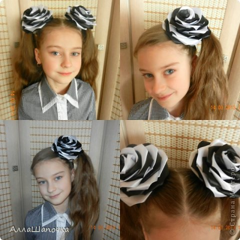 Захотелось мне что-то сделать канзаши в черно-белом цвете ( все-таки мои любимые цвета...) фото 3