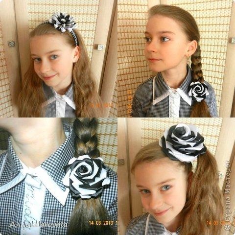 Захотелось мне что-то сделать канзаши в черно-белом цвете ( все-таки мои любимые цвета...) фото 4