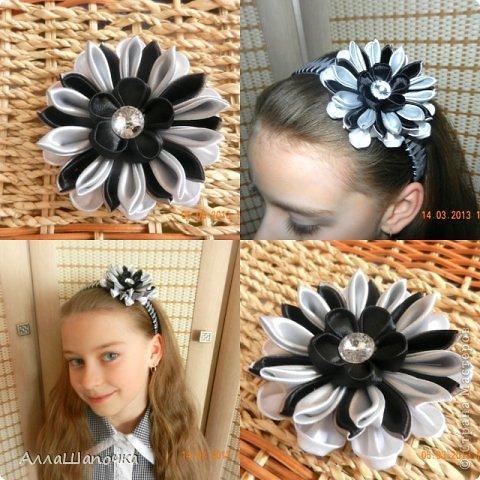 Захотелось мне что-то сделать канзаши в черно-белом цвете ( все-таки мои любимые цвета...) фото 5