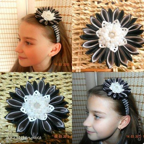 Захотелось мне что-то сделать канзаши в черно-белом цвете ( все-таки мои любимые цвета...) фото 6