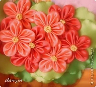 Картина панно рисунок Цумами Канзаши Фиалка на окне Бисер Ленты фото 2.