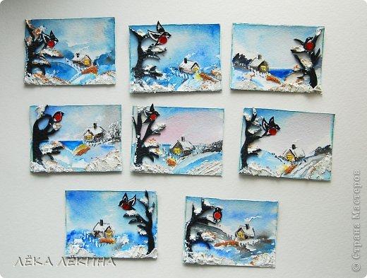 """В этот раз наша игра несколько затянулась в силу объективных причин, но вес равно полученные карточки стоили того томительного ожидания. Тема была у нас не новогодняя, а посвященная самым """"зимним"""" птичкам - снегирям. Как и ожидалось вес увидели всоих снегирей по своему. Поэтому коллекция получилась на славу! фото 7"""