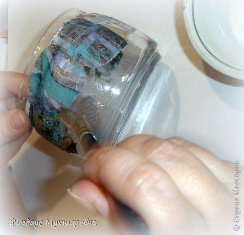 Декор предметов Мастер-класс Декупаж Каменные баночки Имитация Банки стеклянные Бумага журнальная фото 7