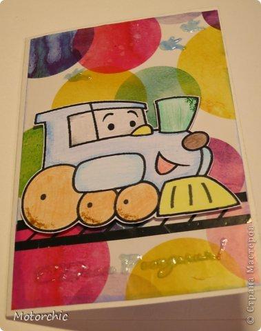 Открытка День рождения Аппликация Детская открытка Бумага Картон Скотч фото 1