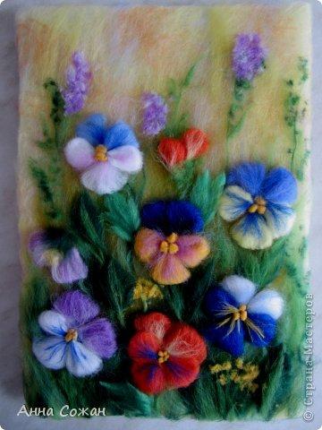 Здравствуйте друзья! Приглашаю посмотреть новую картину Анютины глазки. Картину сделала на День Рождения своей сестре. Она очень любит эти цветы. Размер картины20х30 фото 1