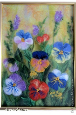 Здравствуйте друзья! Приглашаю посмотреть новую картину Анютины глазки. Картину сделала на День Рождения своей сестре. Она очень любит эти цветы. Размер картины20х30 фото 6