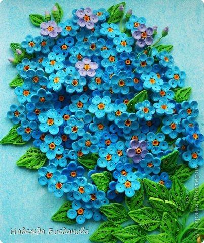Цветок незабудка из бумаги