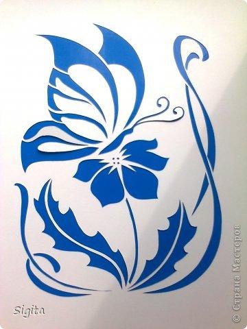 Картина панно рисунок Вырезание Цветок и бабочка Копия Бумага фото 1