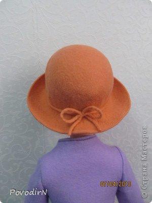 Гардероб Мастер-класс Валяние фильцевание Валяная шляпка для куклы  Шерсть фото 29