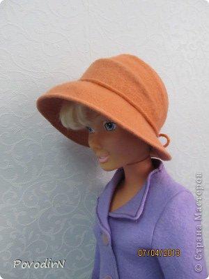 Гардероб Мастер-класс Валяние фильцевание Валяная шляпка для куклы  Шерсть фото 31