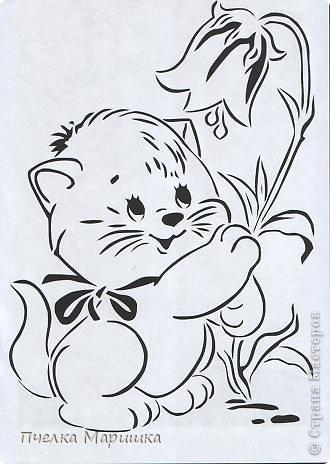 Картина панно рисунок Вырезание Котятки + шаблоны Бумага фото 21