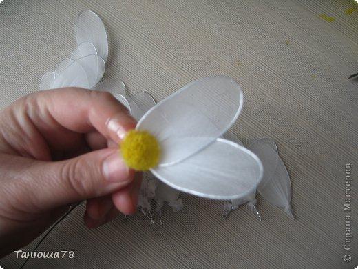 Поделка изделие Моделирование конструирование ромашки ромашки Капрон Проволока фото 9