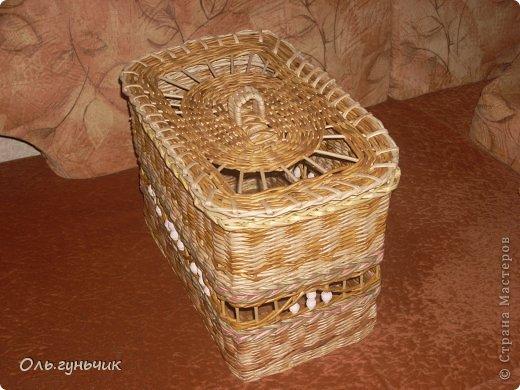 Здравствуйте всем, кто заглянул ко мне в гости!!! Вот сплелась корзинка для мусора, только вот нерасчитала размеры и получилась она крупновата... значит будет повод сплести еще одну))) А пока покажу эту. фото 2