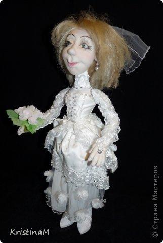Куклы Свадьба Шитьё Жених и Невеста Бисер Капрон Кружево фото 1.