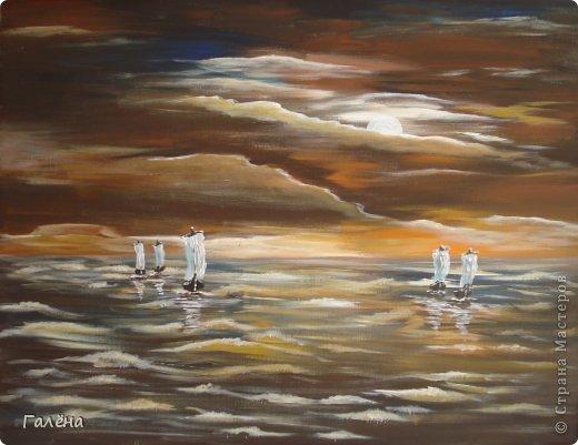 Работу писала акрилом.По мотивам работ польского художника Марека Лаговски.
