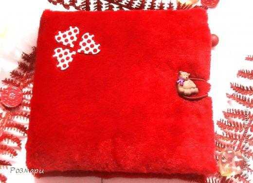 Красный альбом из искусственного меха в подарок малышке, день Рождения которой летом. Размер 15 на 15 см, 5 листов фото 1