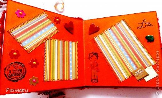 Красный альбом из искусственного меха в подарок малышке, день Рождения которой летом. Размер 15 на 15 см, 5 листов фото 4