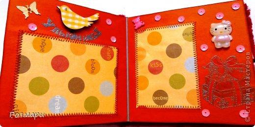Красный альбом из искусственного меха в подарок малышке, день Рождения которой летом. Размер 15 на 15 см, 5 листов фото 5