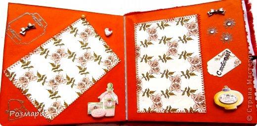 Красный альбом из искусственного меха в подарок малышке, день Рождения которой летом. Размер 15 на 15 см, 5 листов фото 7