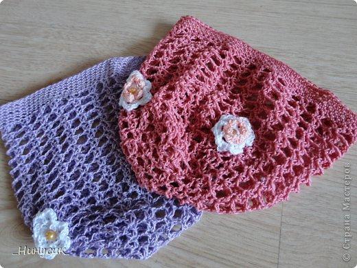Гардероб Вязание крючком Летние ажурные шапочки для девочек Нитки фото 1