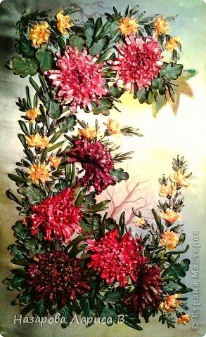 Картина панно рисунок Мастер-класс Вышивка Вышивка лентами Осенний этюд МК вышивка хризаннтемы Ленты Ткань фото 1