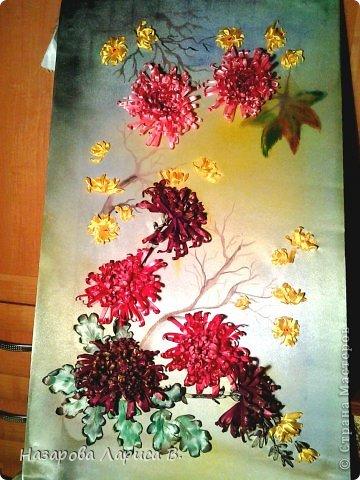 Картина панно рисунок Мастер-класс Вышивка Вышивка лентами Осенний этюд МК вышивка хризаннтемы Ленты Ткань фото 2
