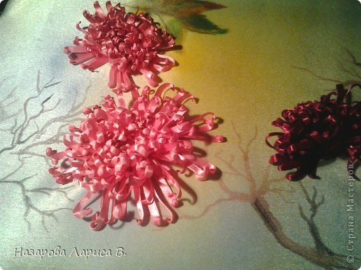 Картина панно рисунок Мастер-класс Вышивка Вышивка лентами Осенний этюд МК вышивка хризаннтемы Ленты Ткань фото 17