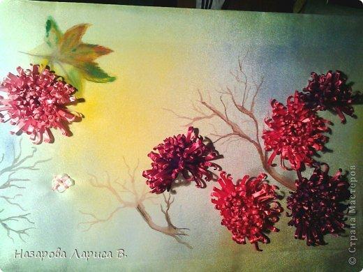 Картина панно рисунок Мастер-класс Вышивка Вышивка лентами Осенний этюд МК вышивка хризаннтемы Ленты Ткань фото 5