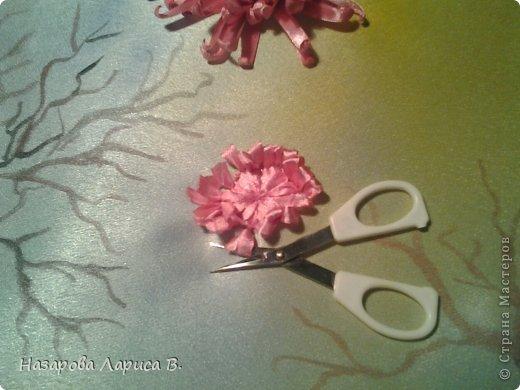 Картина панно рисунок Мастер-класс Вышивка Вышивка лентами Осенний этюд МК вышивка хризаннтемы Ленты Ткань фото 7