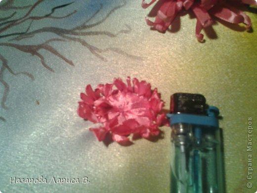 Картина панно рисунок Мастер-класс Вышивка Вышивка лентами Осенний этюд МК вышивка хризаннтемы Ленты Ткань фото 8