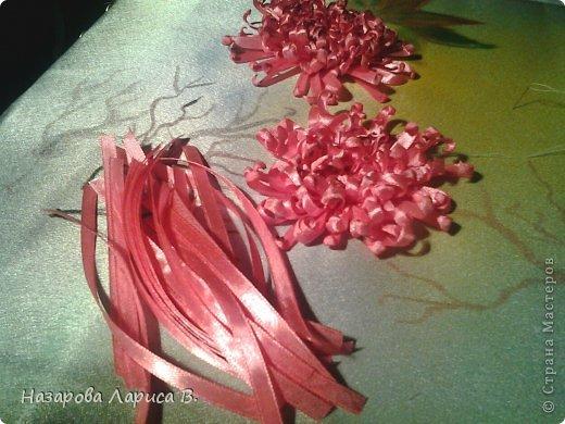 Картина панно рисунок Мастер-класс Вышивка Вышивка лентами Осенний этюд МК вышивка хризаннтемы Ленты Ткань фото 16