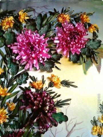 Картина панно рисунок Мастер-класс Вышивка Вышивка лентами Осенний этюд МК вышивка хризаннтемы Ленты Ткань фото 20