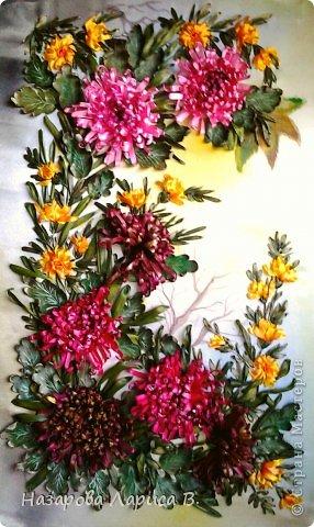 Картина панно рисунок Мастер-класс Вышивка Вышивка лентами Осенний этюд МК вышивка хризаннтемы Ленты Ткань фото 21