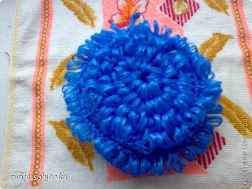 Вязание круглой мочалки вытянутой петлей
