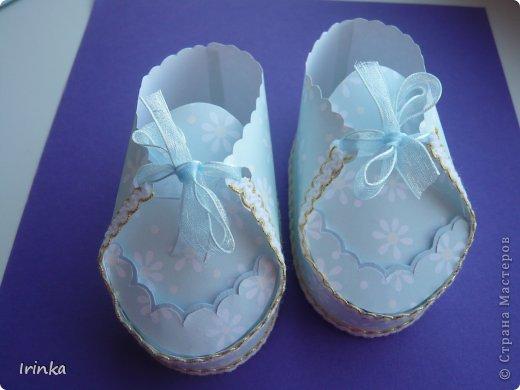 Спасибо мастерицам за схемы детских открыток, особенно понравилось делать туфельки и пинетки.... фото 5