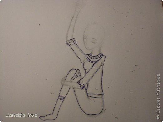 Здравствуйте этот мк посвящается тем у кого проблемы с рисованием людей. Этот способ подойдёт для девушек, которые не умеют рисовать. Этот мк является лёгкой версией для рисования людей. В данном мк не соблюдены пропорции. Способ подходит для схематичного отображения человека или простого баловства с листом бумаги и цветными карандашами) фото 14