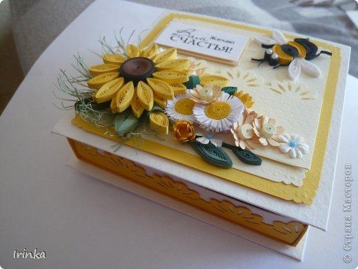 Коробочка, что-то меня на подсолнухи потянуло,  по-моему цветов многовато налепила......, а в целом коробочка понравилась.... фото 3