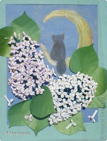Вот я наконец решила попробывать сирень сделать по МК Saphir: http://stranamasterov.ru/node/369499. Цветы: офисная бумага, местами тонированная пастелью. Фон: рисунок цветные карандаши. фото 1
