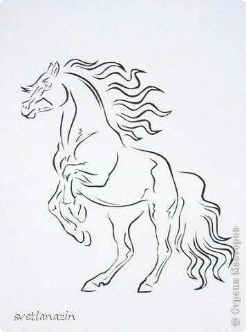 Картина панно рисунок Вырезание Навырезалось Лошади Бумага фото 6