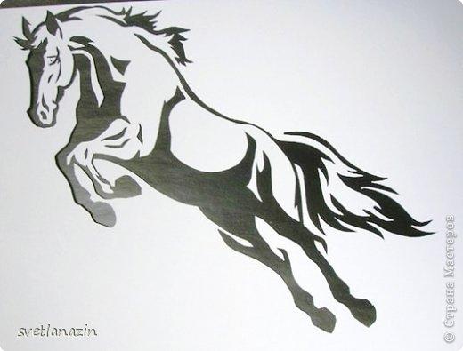 Картина панно рисунок Вырезание Навырезалось Лошади Бумага фото 7