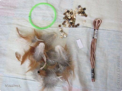 Мастер-класс Оберег Плетение МК по миниатюрному ловцу снов Бусины Нитки Перо фото 2