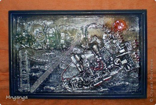 Картина панно рисунок Коллаж Звездолет Букет и Пуговичное дерево Материал бросовый Материал природный фото 1
