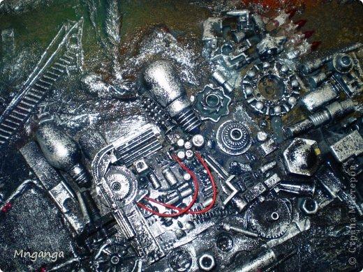 Картина панно рисунок Коллаж Звездолет Букет и Пуговичное дерево Материал бросовый Материал природный фото 4