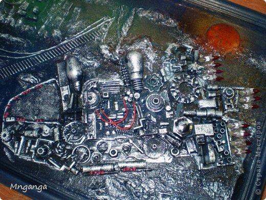 Картина панно рисунок Коллаж Звездолет Букет и Пуговичное дерево Материал бросовый Материал природный фото 3