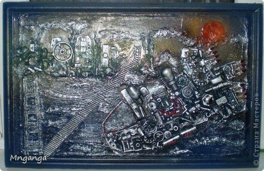 Картина панно рисунок Коллаж Звездолет Букет и Пуговичное дерево Материал бросовый Материал природный фото 6
