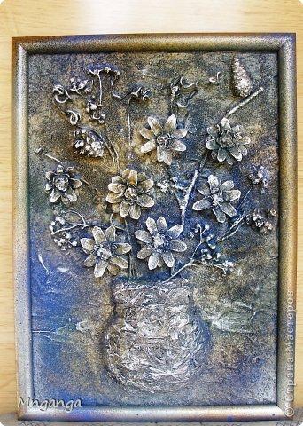 Картина панно рисунок Коллаж Звездолет Букет и Пуговичное дерево Материал бросовый Материал природный фото 7
