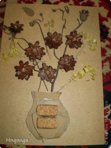 Картина панно рисунок Коллаж Звездолет Букет и Пуговичное дерево Материал бросовый Материал природный фото 13