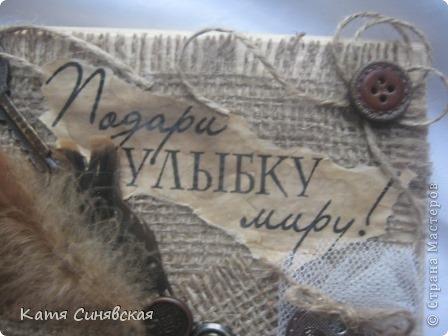 Поделка изделие Ассамбляж Дело было вечером   Ч 3 Ключница Дерево Мешковина Шпагат фото 2
