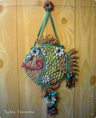 Поделка изделие Лепка Рыбка в цветах Тесто соленое фото 3