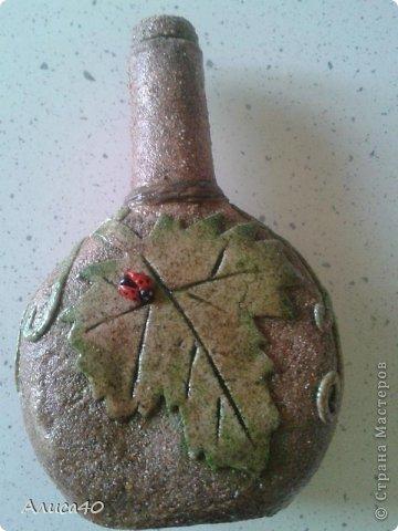 Декор предметов Лепка Бутылка с виноградом Бутылки стеклянные Песок Тесто соленое фото 2